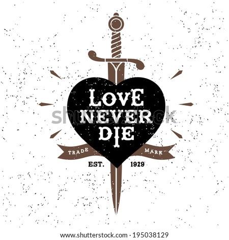 vintage label love never die