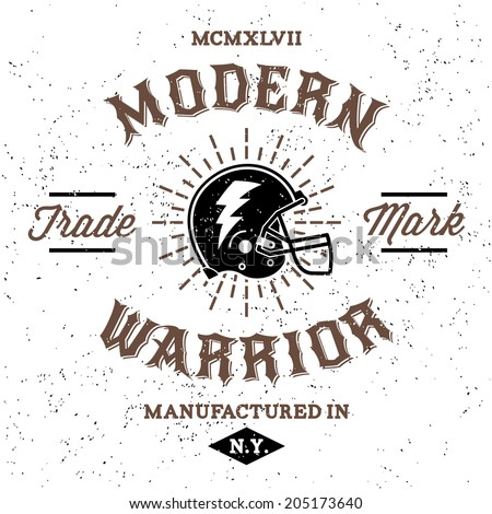 vintage label modern warrior  t