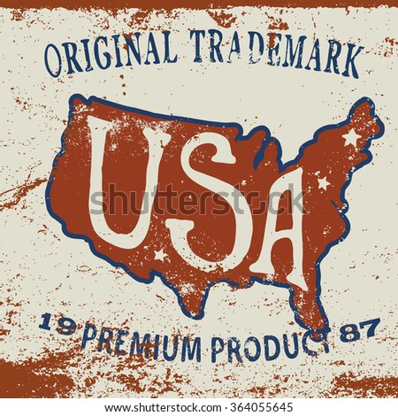 vintage label of  the usa map