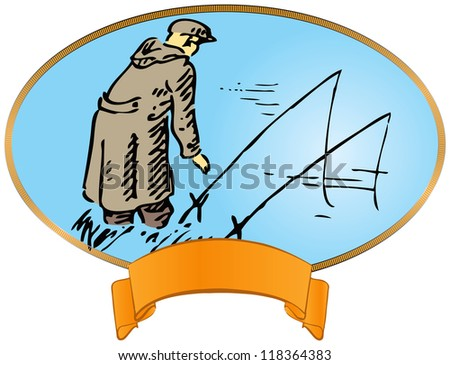 Vintage label on fishing. Fisherman with a fishing rod. Vector illustration.