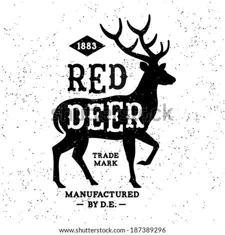 vintage label Red Deer T-Shirt Print