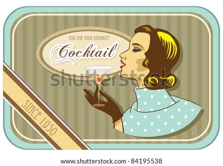 vintage label retro woman cocktail