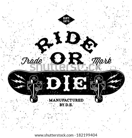 vintage label ride or die T-Shirt Print