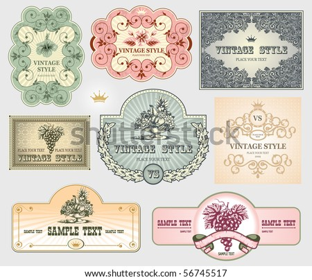 Vintage label set, vector, hand drawn - stock vector