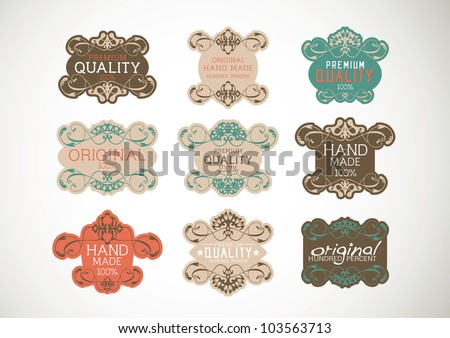 Vintage label Style with Nine Design Element , collection 23