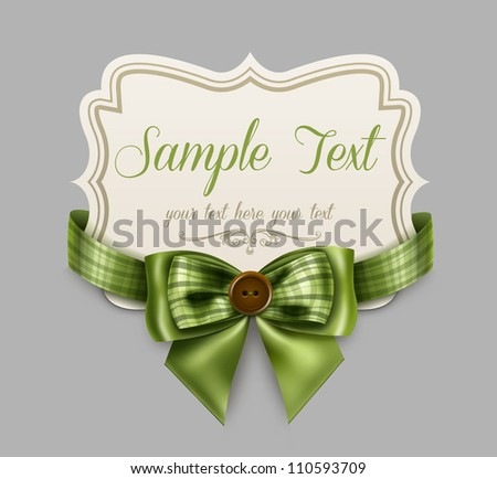 Vintage label with a green bow
