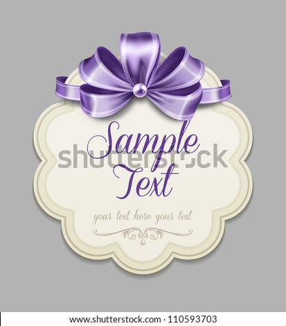 Vintage label with a purple bow
