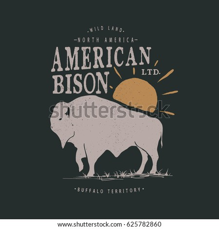 western vintage label with bison buffalo animal