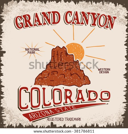 vintage label with canyon and