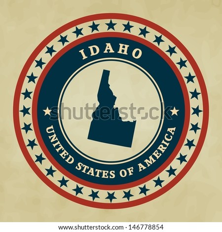 Vintage label with map of Idaho, vector