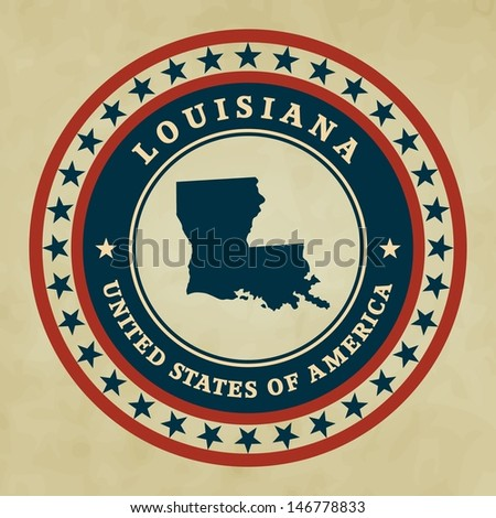 Vintage label with map of Louisiana, vector