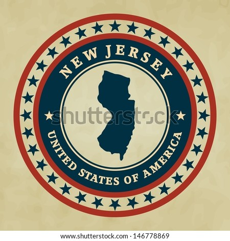 Vintage label with map of New Jersey, vector