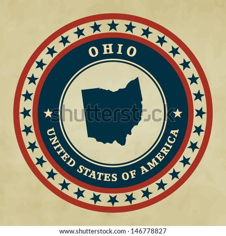 vintage label with map of ohio  ...