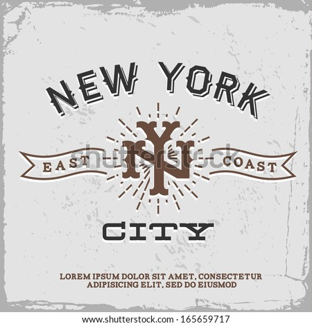 vintage label with new york...