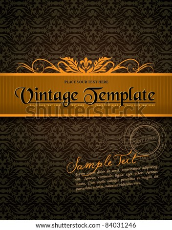 vintage label with seamless ornament background - stock vector