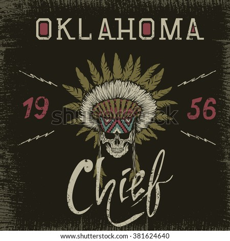 vintage label with skull chief