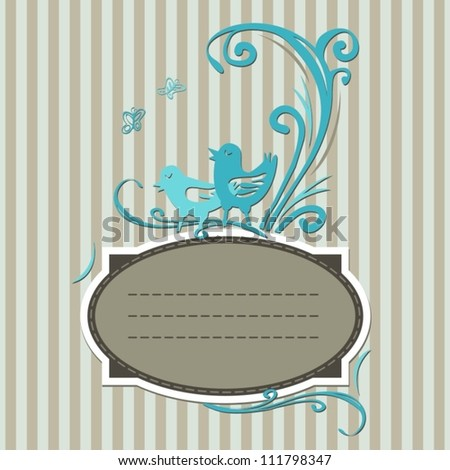 vintage label with turquoise birds on vertical stripes invitation card
