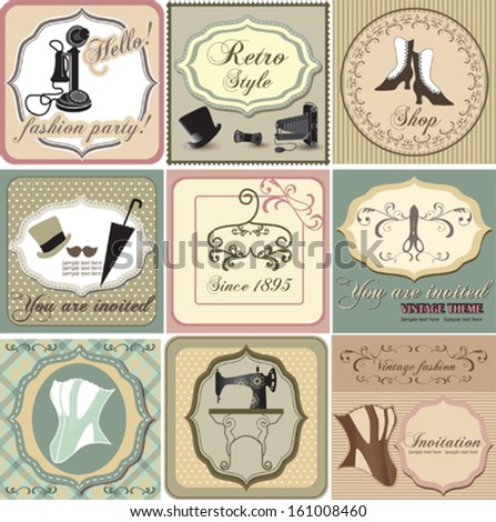 Vintage labels and invitation set