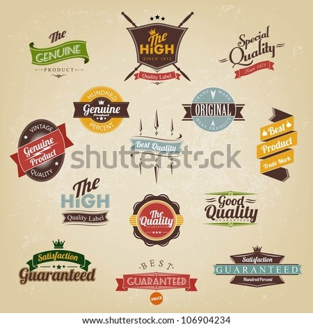 Vintage Labels And Ribbon Retro  Colorful Set - stock vector