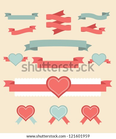 Vintage labels and ribbon retro style set. Vector design elements.