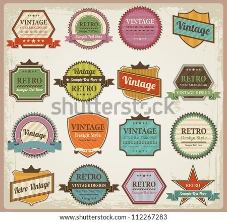 Vintage labels and ribbon retro style set. Vector design elements collection