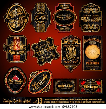 Vintage Labels - 16 Black and Gold Elements with distressed Antique look - Set 13 - stock vector