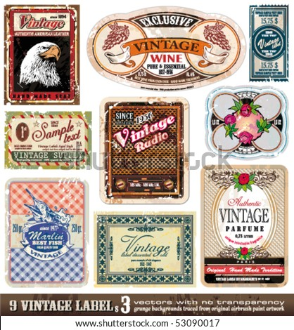 Vintage Labels Collection - 9 design elements with original antique style -Set 3 - stock vector