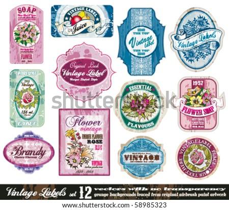 Vintage Labels Collection - 12 design elements with original antique style -Set 12 - stock vector