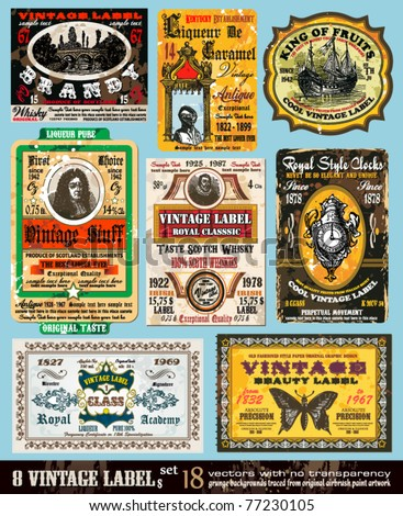 Vintage Labels Collection - 8 design elements with original antique style -Set 18