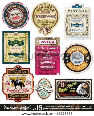 Vintage Labels Collection - nine design elements with original antique style -Set 15
