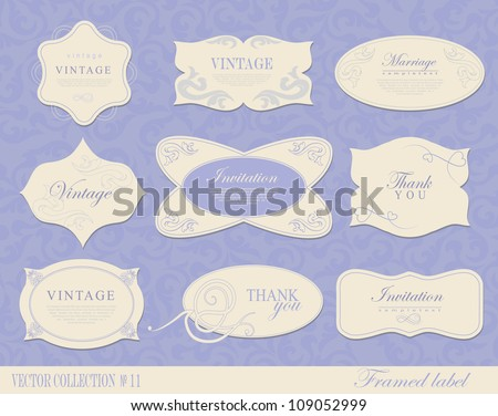 Vintage Labels Collection. Retro vector framed label. Premium design elements