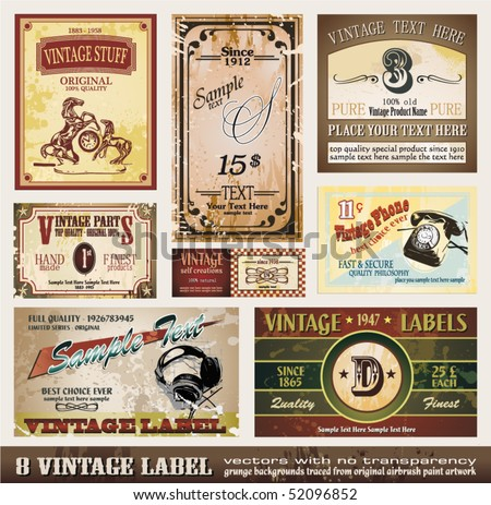 Vintage Labels Collection - Set of 8 design elements with original antique style - stock vector