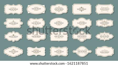Vintage labels, frames. Old frames. Classic frames, vintage badges. Royal signs and ghostly. Set of beautiful decorative decorating frames and labels. Vector
