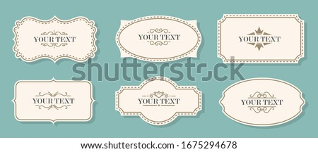 Vintage labels, frames. Old frames. Classic frames, vintage badges. Royal signs and ghostly. Set of beautiful decorative decorating frames and labels. Vector