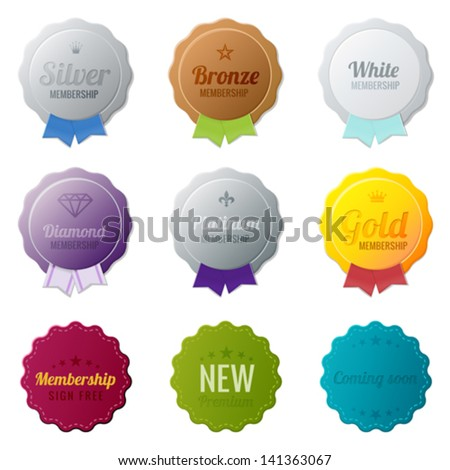 Vintage Labels membership collection Bronze Silver Gold Platinum Diamond members medals Vector logo template Editable