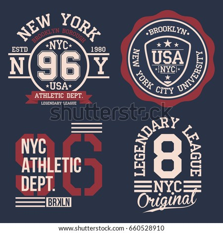 Vintage labels set, athletic sport typography for t shirt print. Varsity style. T-shirt graphic. Vector