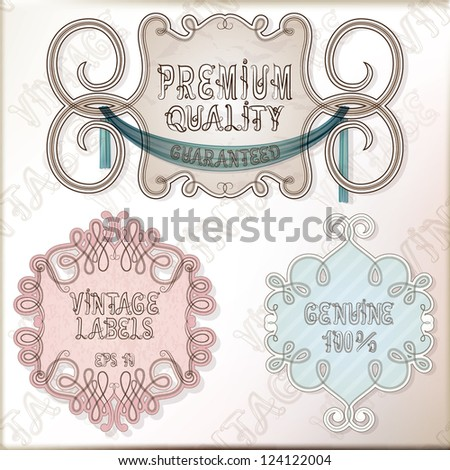 Vintage labels, set of frames. Vector