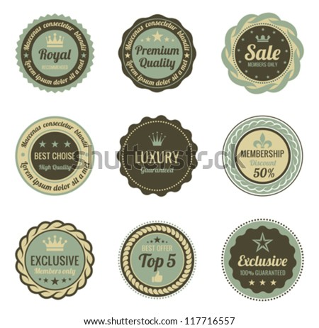 Vintage Labels set. Sale, Membership, Luxury style. Retro design. High quality. Retro logo template. High detail vector.