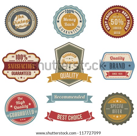 Vintage labels set. Vector design elements.