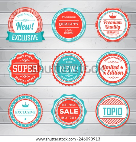 Vintage Labels template set. Retro badges for your design on wooden background. Vector illustration.