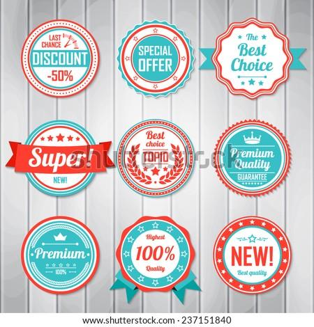 Vintage Labels template set. Retro badges for your design. Vector illustration.