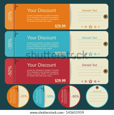 Vintage Labels template set. Sale, discount theme. Retro logo template design.