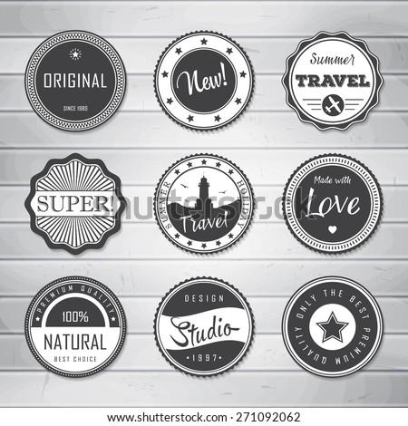Vintage Labels template set: super, original, new, best choice, travel. Retro badges for your design on wooden background. Vector illustration.