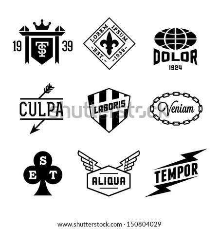 vintage labels with shield crown arrow wing