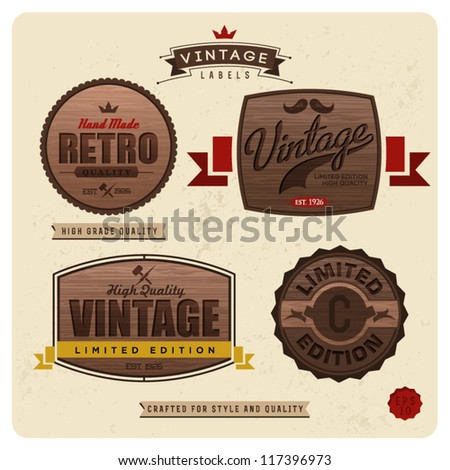 Vintage labels with woody pattern - Premium Labels with calligraphic and typographic elements, frames, vintage labels. - stock vector