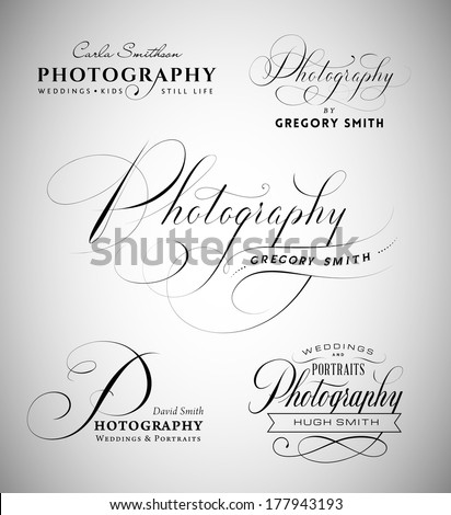 Vintage labels with word photography written in calligraphic styles