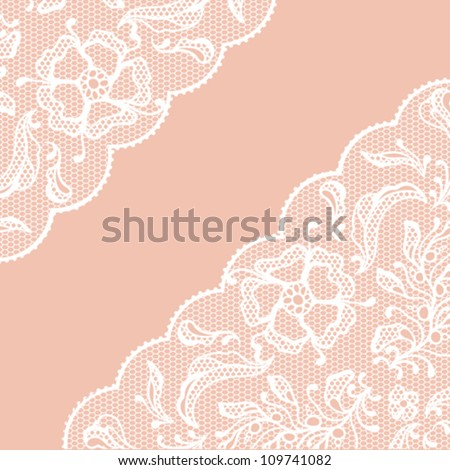 Vintage lace frame, ornamental flowers. Vector texture. - stock vector