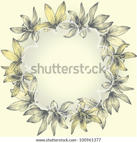 Vintage lace frame with flowers, hand-drawing. Vector.