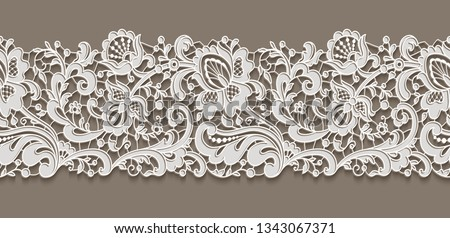 Vintage lace ribbon with floral ornament, white lacy border pattern on neutral background, elegant vector decoration for wedding invitation card design