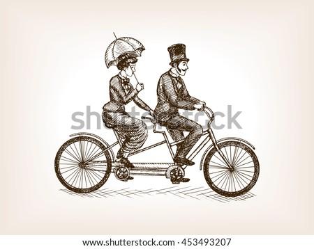 vintage lady and gentleman ride ...